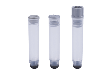 A 1.10ml internally threaded tube precapped with a grey TPE push cap, a 1.10ml internally threaded tube precapped with a grey low profile screw cap, and a 1.10ml internally threaded tube precapped with a grey screw cap