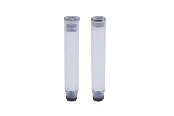 A 1.40ml internal thread tube precapped with a grey low profile screw cap and a 1.40ml internally threaded tube precapped with a grey TPE push cap