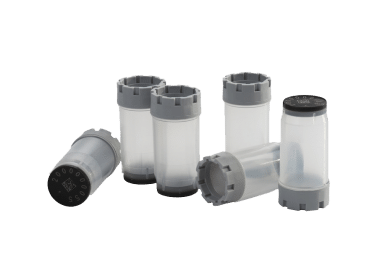Six 3.50ml externally threaded tubes precapped with grey screw caps