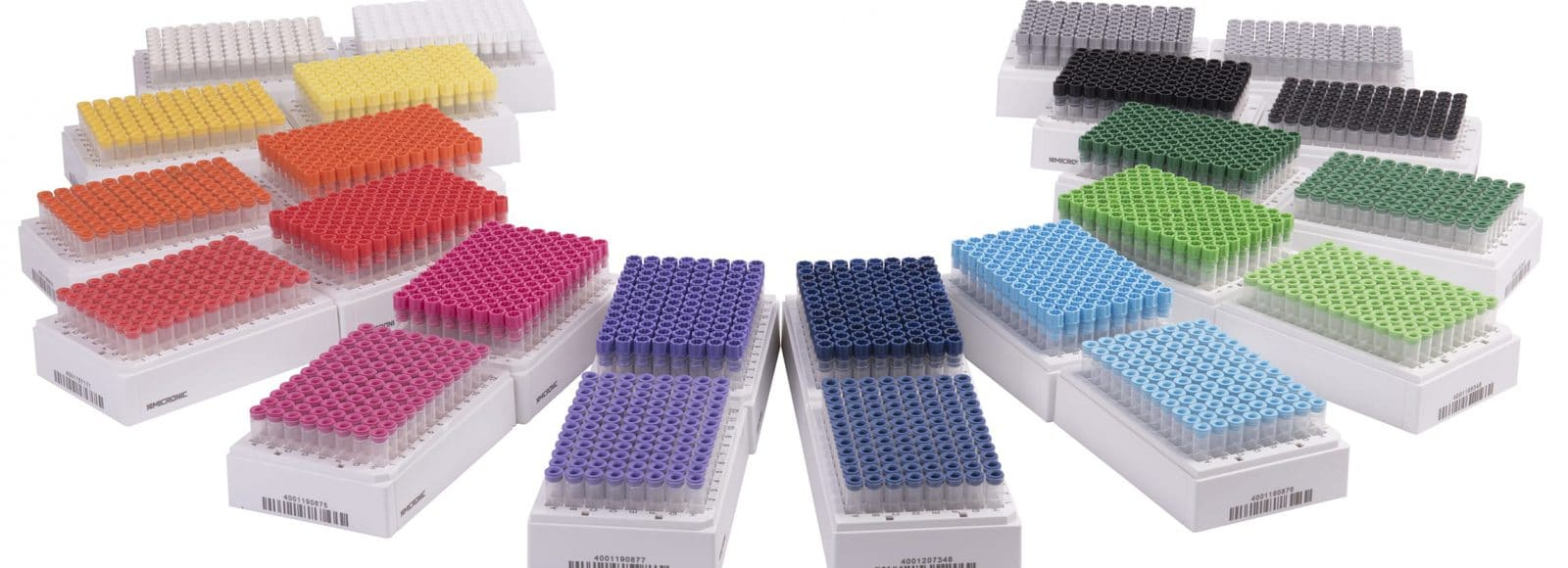 Micronic's complete cap color range for push caps and screw caps