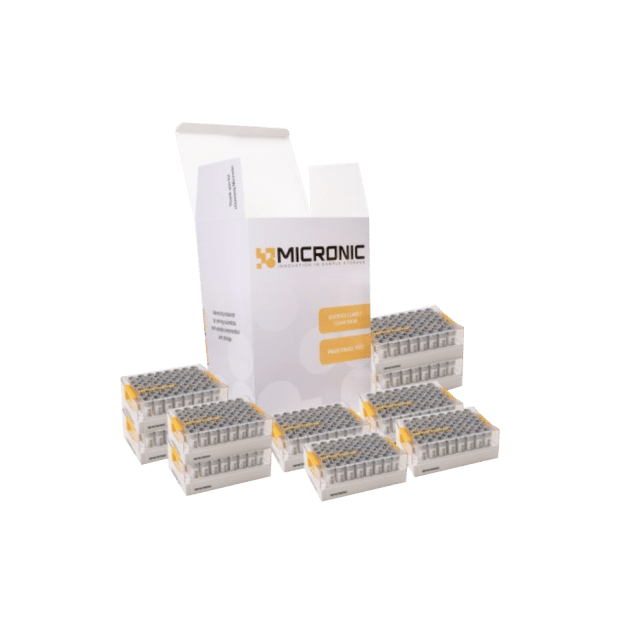 Micronic hybrid tube trial pack with 10 racks of tubes and grey screw caps