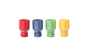 The range of Micronic's screw cap ultra: red, blue, light green, and yellow in color