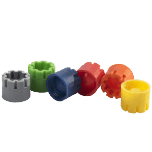 The color range of Micronic's externally threaded screw caps: grey, light green, blue, red, orange, yellow