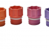 The range of Micronic's internally threaded screw caps: black, grey, white, yellow, orange, red, pink, purple, blue, light blue, light green, and green respectively