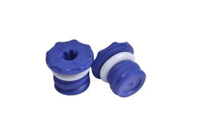 Two blue low profile screw caps