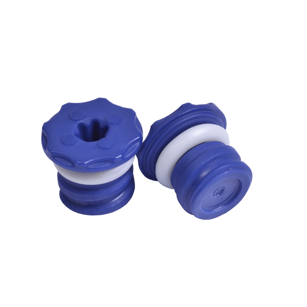 Two blue low profile screw caps