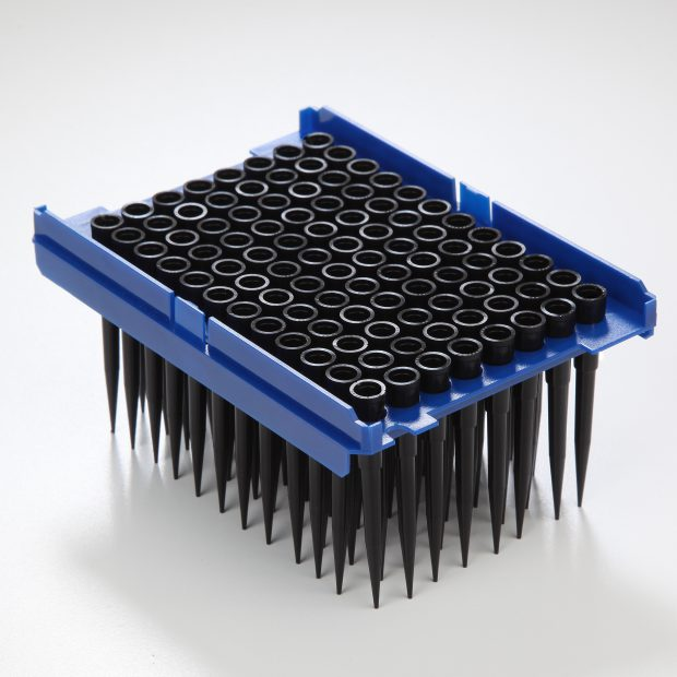 One tray of Tecan blackKnights 200 microliter robotic pipette tips