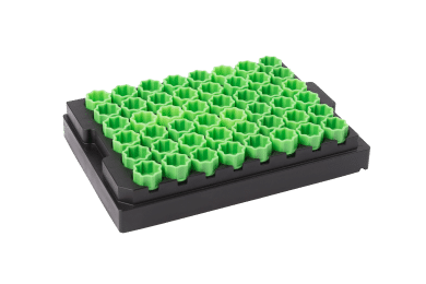 48-well format disposable screw cap carrier with light green screw caps