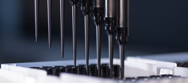 Close-up of Ritter Medical's robotic pipette tips